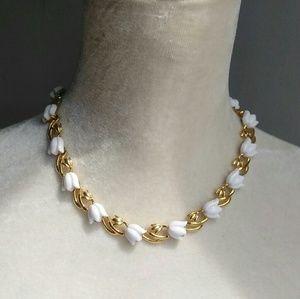 Trifari White Tulip Necklace
